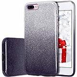 iPhone 8 Plus Case, MILPROX iPhone 7 Plus Glitter Sparkly Pretty Cute Premium 3 Layer Hybrid Anti-Slick/Protective/Soft Slim Thin Case for Girls/Women iPhone 7 Plus / 8 Plus - Black Silver