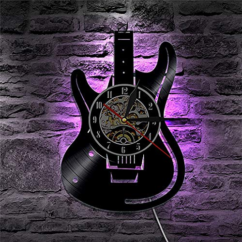 Home DCR Electric Guitar Shaped Black Vinyl LP 7 Colors LED Light Wall Clock, with LED One - Electric 2002 Guitar