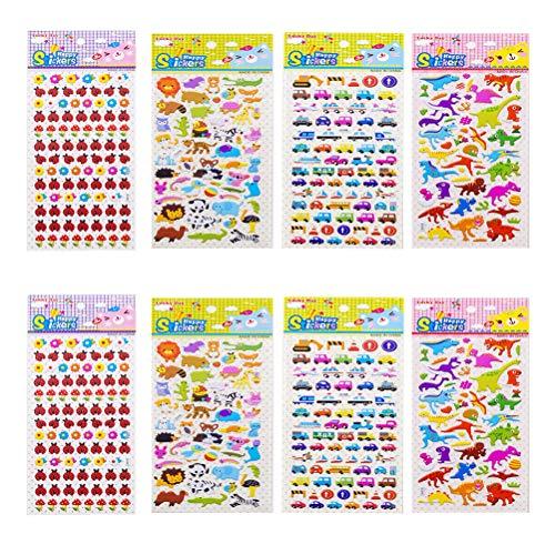 (Toyvian Craft 3D Sticker Toddlers Stickers Sheets Decorative DIY Sticker for DIY Handbook Decorative Small Sticker 8 Sheets)