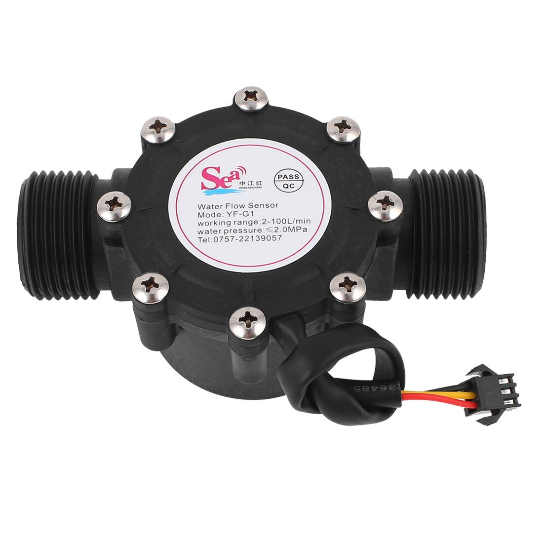 Uxcell G1 to G1 Male Thread 2-100 L/minutes Water Flow Sensor Counter Flowmeter Controller