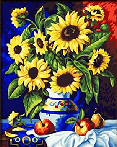 DIY Paint By Number Kits Warm sunflowers by Van Gogh 16x20 inch Frameless