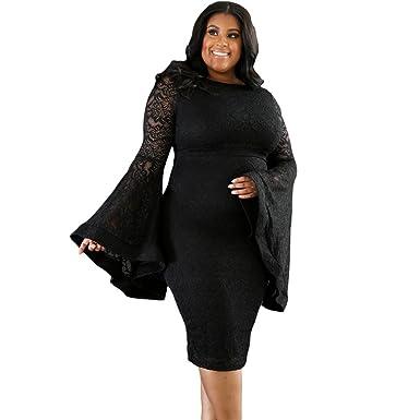 Lielisks Plus Size Dress Womens Flare Sleeve Bodycon Lace Dresses