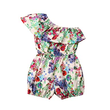 f55a13fcd40 Meidefafa Baby Girl Single Shouder Ruffle Floral Jumpsuit  Amazon.in   Clothing   Accessories