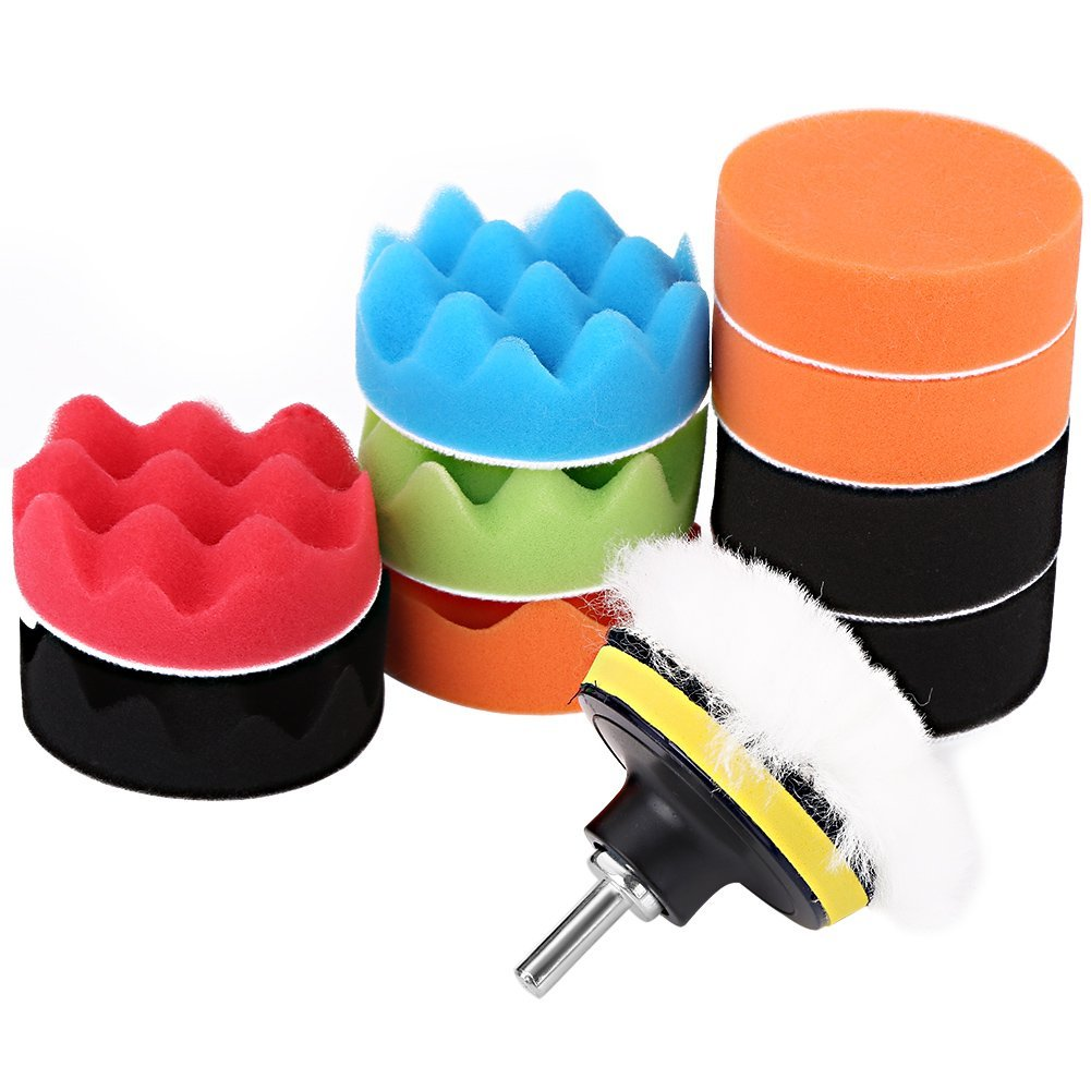 "12Pcs 3"" Automotive Polishing Pads Set, Sponge Buffing Waxing Pad Kit for Car Polisher Buffer with Drill Adapter Car Care Accessories GLOGLOW"