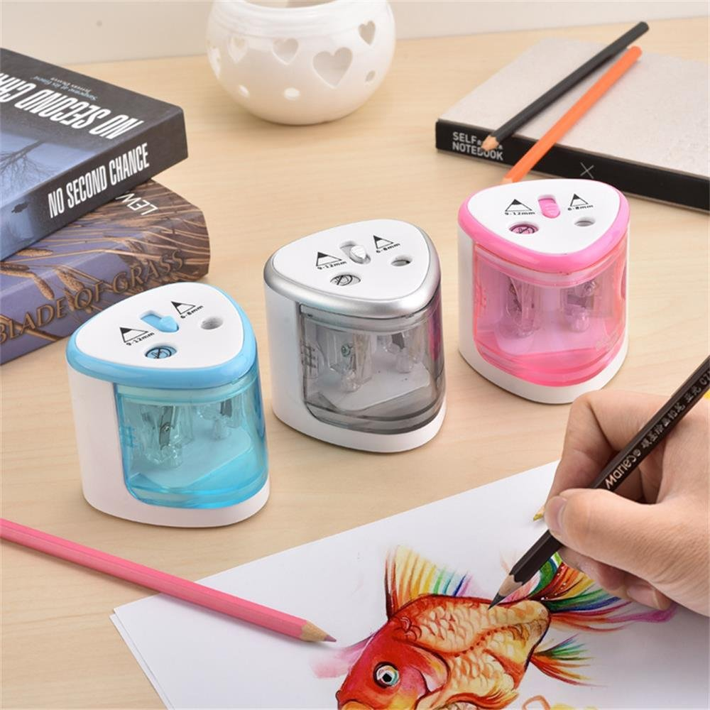 Automatic Pencil Sharpener Dual Hole Auto-Stop Electric Pencil Sharpener for Dia 6-8mm /& 9-12mm Pencils Power by AA Battery Operated Not Include