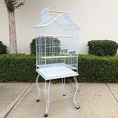 Large Open Roof Parrot Cockatiel Parakeets Bird Cage with Stand Black and White 20x20x55 inchesird Parrot Cage with Stand Cockatiel Parakeet Budgies Parr 20x20x55 inches Flyline