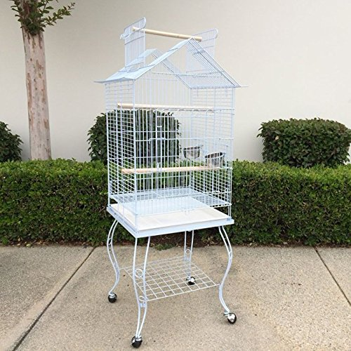 Open Roof Parrot Lovebird Cockatiel Cockatiels Parakeets Bird Cage with Stand (White) by Flyline