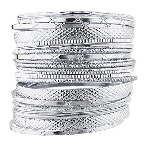 Lux Accessories SilvertoneTone Metal Casted Aztec Etched Boho Bracelet Bangle Bracelet Set