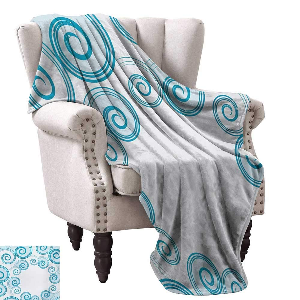 color08 60 Wx60 L WinfreyDecor Teal and White Reversible Blanket colorful Cross Shapes Dotted Design Hipster Feminine Girls Fun Art Graphic All Season Light Weight Living Room 60  Wx60 L Multicolor