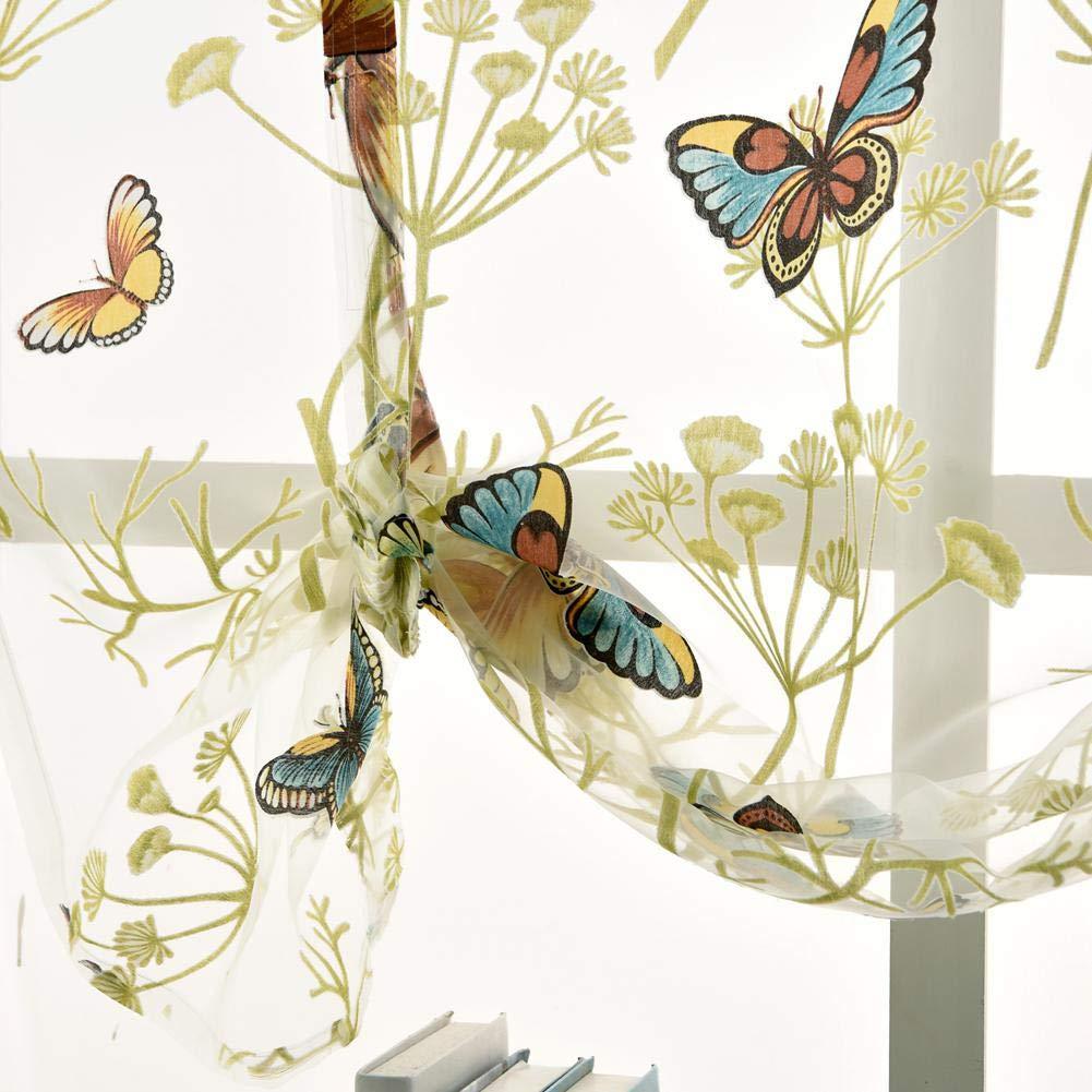 60 * 120cm Transparent KOBWA Romain Dentelle Rideaux Papillon Floral Semi Sheer Rideau de Poche Elegance Voile Tulle Magnifique Lit pour fen/être de Cuisine Chambre /à Coucher 39,5/x 47 Polyester
