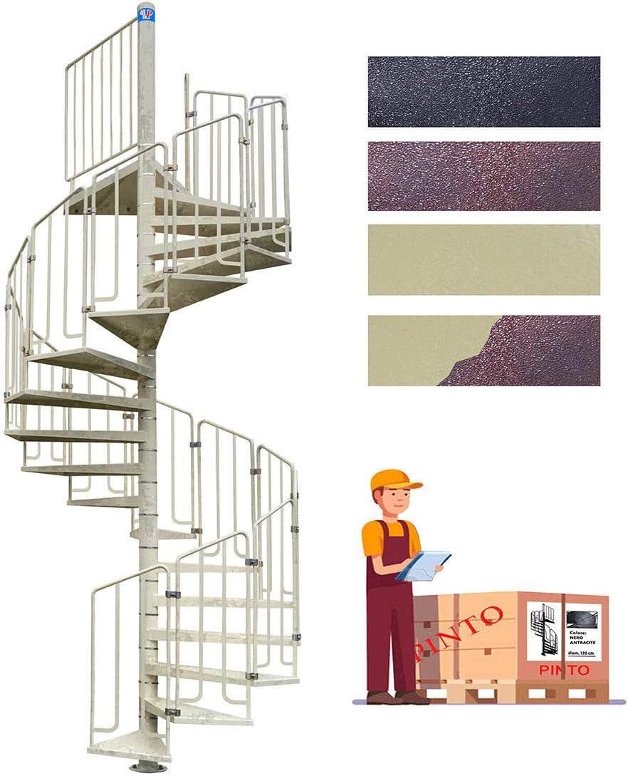 Escalera de caracol de acero galvanizado & recubierto de polvo Epoxy Mod. Thor – Diámetro 90 cm: Amazon.es: Bricolaje y herramientas