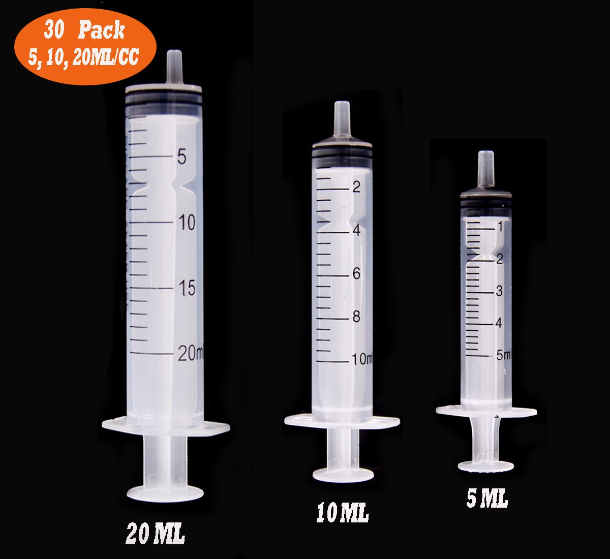 30 Pack 5ml/10ml/20ml Syringe, Buytra Plastic Syringe with Luer Slip Tip, No Needle, Non Sterile- Ideal for Measuring or Transfering Tiny Amount of Liquids(Without Cap) by Buytra