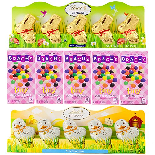 Mini Lindt Milk Chocolate Gold Bunny, Mini Lindt Milk Chocolate Little Chick and Bach's Tiny Jelly Bird Eggs | 5 Pieces of Each | 15 Items Total