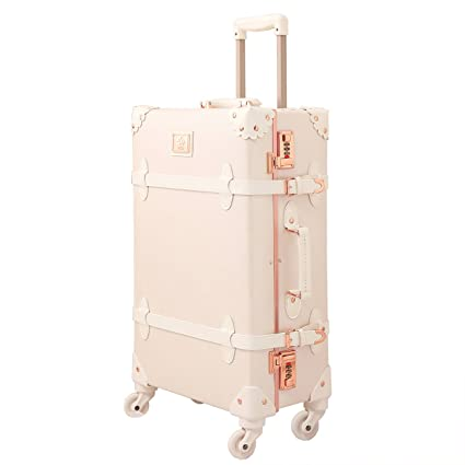 2dec6aff8746 Vintage Luggage Set Carry On Luggage Retro Travel Suitcase with Rolling  Spinner leather (rose white, 20