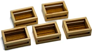 5 Set of Wooden Crate Display Vegetable Fruit Dollhouse Miniature Removable lid Display Food Bakery by Cool Price