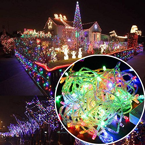 Autolizer 100 LED RGB Multi-Color Fairy String Lights Lamp for Xmas Tree Holiday Wedding Party Decoration Halloween Showcase Displays Restaurant or Bar and Home Garden - Control up to 8 Modes]()