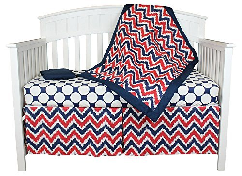 Red White and Blue Zig Zag 4 Piece Crib Bedding Set (Blue And Red Baby Bedding)