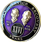 26 year AA Medallion Purple Tri-Plate Founders Bill & Bob Chip XXVI