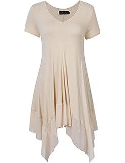 f03db227b6a AMZ PLUS Womens Plus Size Irregular Hem Short Sleeve Loose Shirt Dress Top