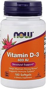 Now Supplements, Vitamin D-3 400 IU, 180 Softgels