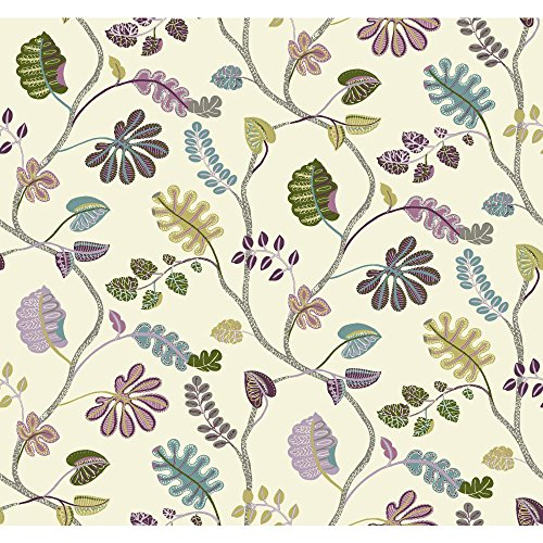 - York Wallcoverings WP2400SMP Waverly Small Prints A New Leaf Wallpaper Memo Sample, 8-Inch x 10-Inch, Cream, Plum Purple, Lilac Purple, Robin's Egg Blue, Grey, Yellow/ Green, Medium Green, Lavender