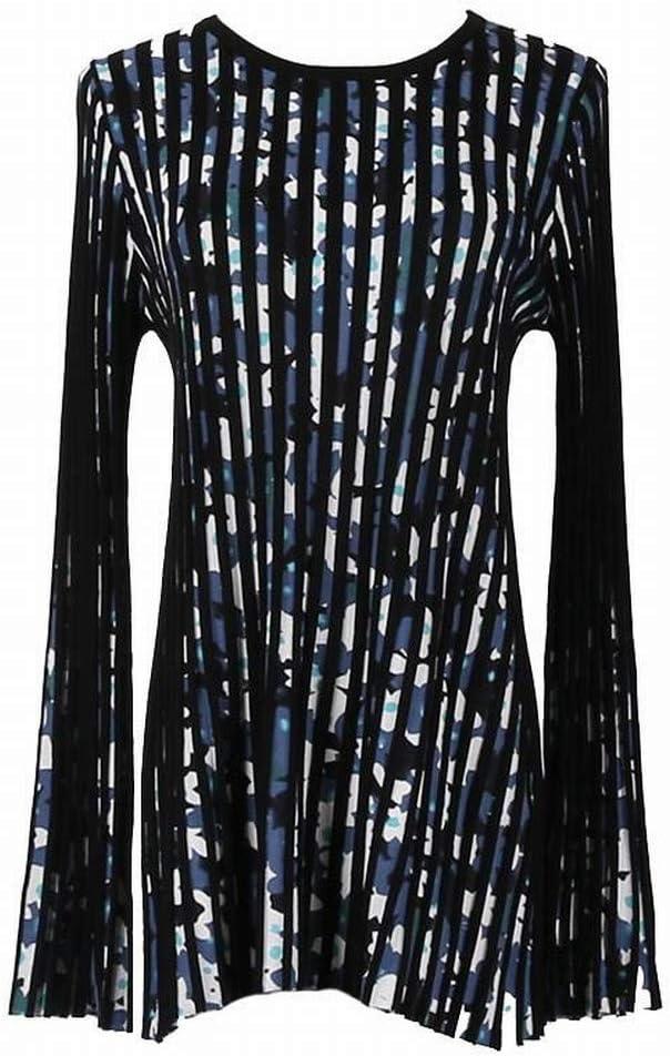 Katylen Blusa Plisada de Manga Larga con Cuello en Pico Y Estampado de Flores para Mujer, Azul Marino, l