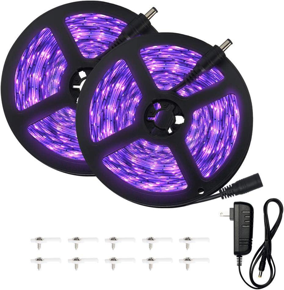 Escolite 33ft UV Black Light Strip 12V Flexible Blacklight with 600 Unit Uv lamp Beads, 10M LED Black Light Ribbon, Non-Waterproof for Indoor DanceParty, Body Paint, UV Lighting, Bed Room