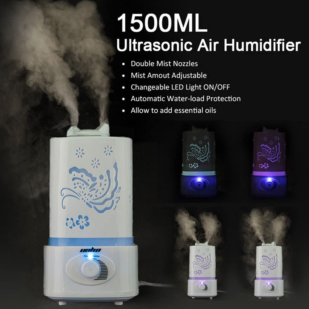 Aroma Diffuser UNHO 1.5L Aromatherapy Essential Oil Diffuser Cool Mist Humidifier 7 Color LED Changing 2 Sprayers Air Purifier for Home, Yoga, Office,