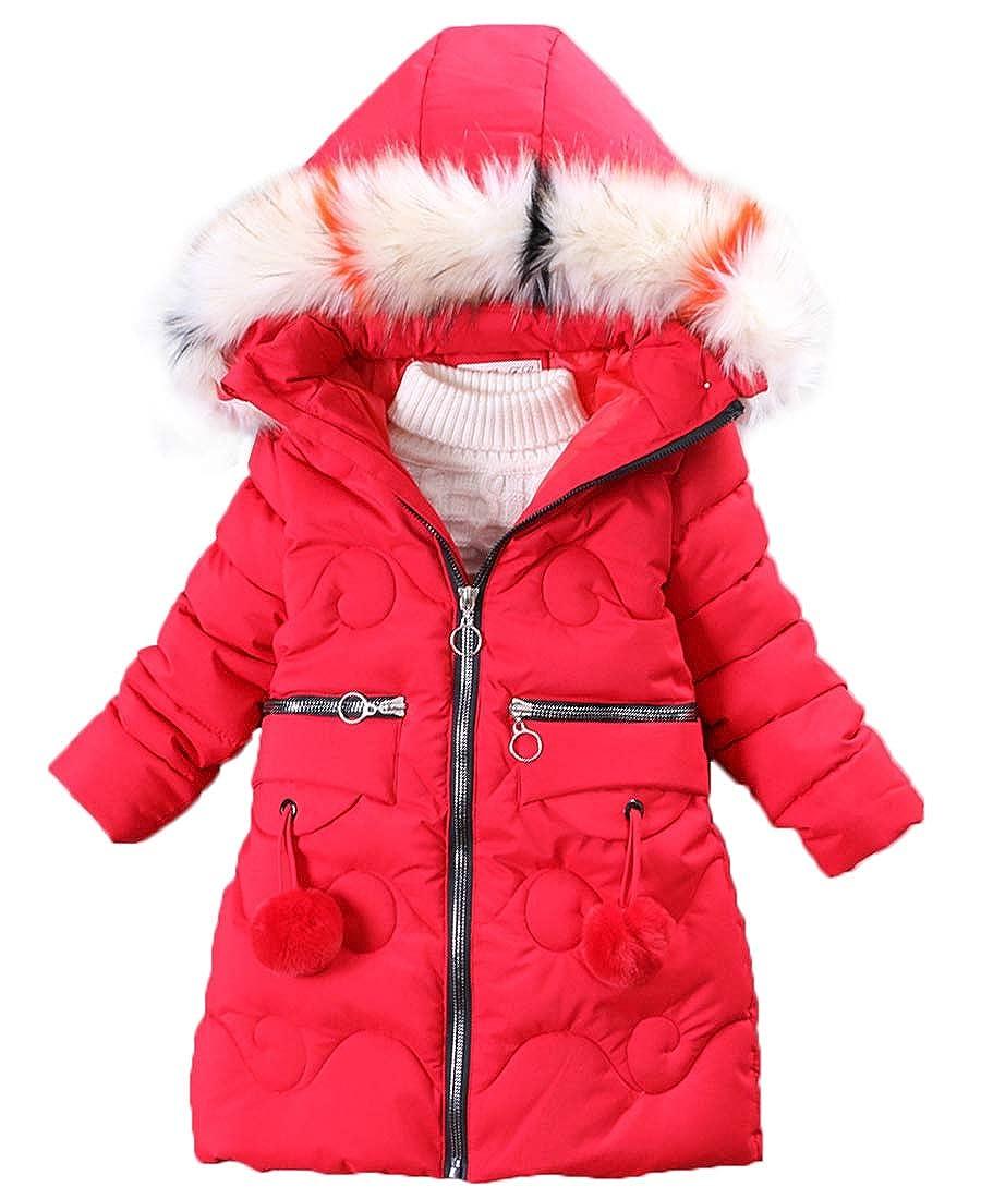 Capturelove Big Girl Winter Parka Padded Overcoat with Fur Hood