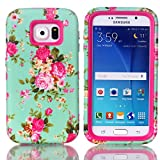 Image of Galaxy S6 Case, Firefish 3 in 1 Hybrid Heavy Duty Shockproof Protective Cover Hard PC Soft TPU Bumper Dual Layer Case for Samsung Galaxy S6 - Rose Red