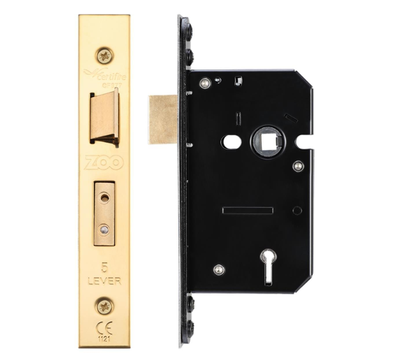 Zoo Hardware 5 Lever Mortice Sash Lock 64mm PVD Brass Forend and Strike From The Door Handle Store UKASNHKTN7875