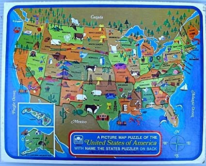 A Picture Map Puzzle Of the United States Of America: Learn State Shapes &  Capitals; Golden Brand; Western Publishing Co ©1968