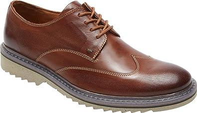 Rockport Men's Jaxson Wing Tip Oxford,Brown Leather,US 6.5 W