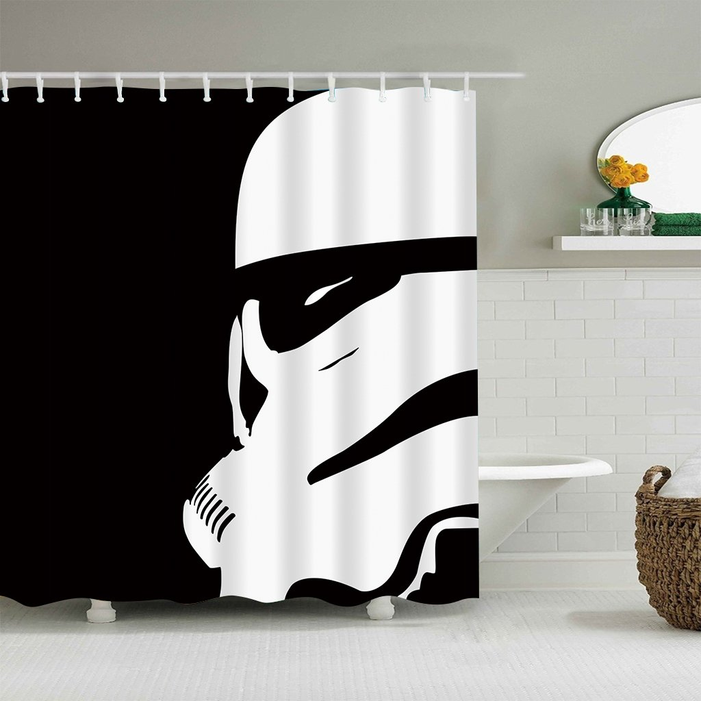 LIGHTINHOME Custom Stormtroopers In Star War Movie Shower Curtain Set White And Black Soldier Shower Curtain Panel Polyester Waterproof Fabric 72x72 Inch With 12-Pack PlasticShowerHooks