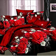 Hot sale 3d bedding sets 4pcs duvet cover set queen twin king bed set red rose nice bedclothes romantic (Queen Size)