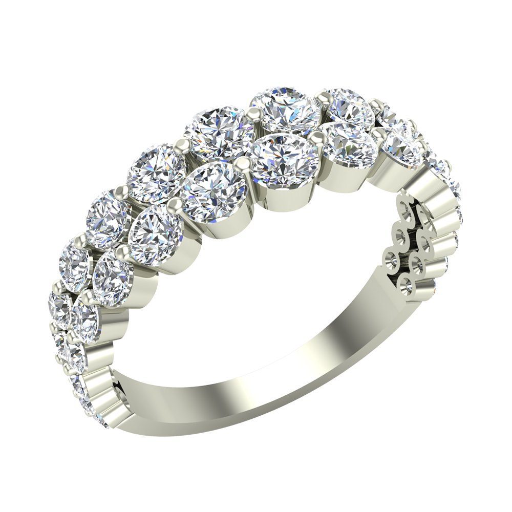 1.67 ct tw Connect the Dots Graduating Diamonds Two Rows Riviera Fashion Band Ring 14K White Gold (Ring Size 4)