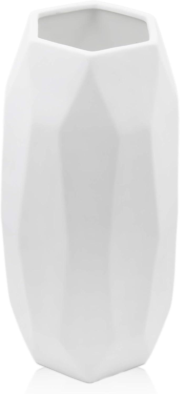 """12"""" Large White Ceramic Vase Tall vase Geometric Vases for Decor Flower Vase for Home Decor Living Room Table (Geometric, White)"""