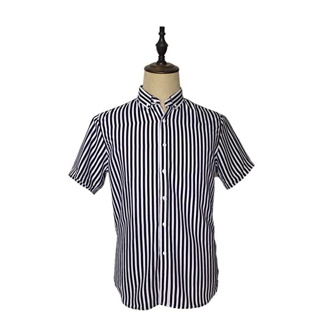 2fd99e466fe Mr. BP Men's Casual Short Sleeve Vertical Striped Slim Fit Button ...
