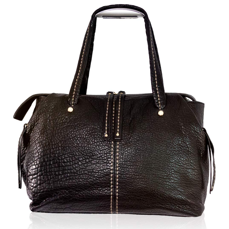 Amazon.com  Plinio Visona Italian Designer Black Leather Sporty Purse  Duffle Shoulder Bag  Shoes ac2176b2729