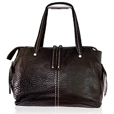 Amazon.com  Plinio Visona Italian Designer Black Leather Sporty Purse  Duffle Shoulder Bag  Shoes abc9a5410ff