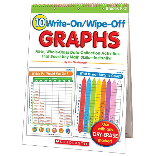 10 Write-On/Wipe-Off Graphs Flip Chart: Fill-in, Whole-Class Data-Collection Activities that Boost Key Math - Flip Chart Math