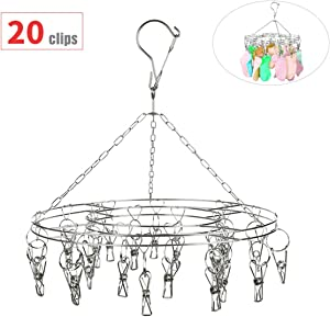 Non-Magnetic Stainless Steel Laundry Drying Rack,20 Clips Metal Clothespins Rack Drip Hanger Clothes Hanger with Clips for Drying Socks,Drying Towels, Diapers, Bras, Baby Clothes,Underwear,Gloves