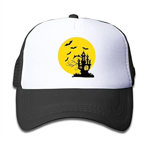 f1062449a2b Black Castle Bat and Big Moon Girl Snapback Mesh Baseball Hat Youth Size  Caps