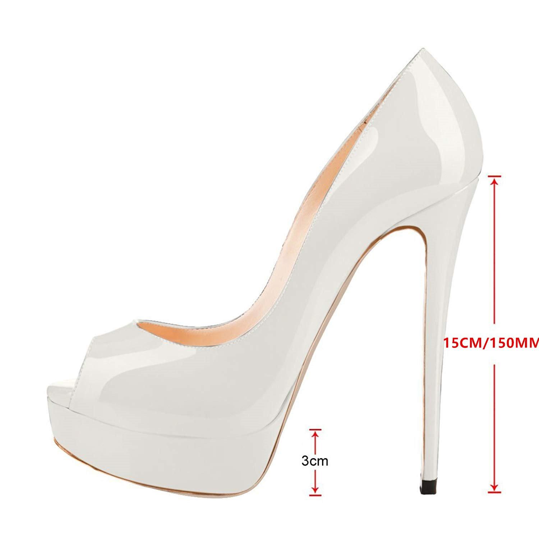 Caitlin Pan Womens Peep Toe Pumps Platform Stiletto Sandals High Heels Slip On Dress Pumps 5-14 US B07FCG817K 7.5 M US|White/Red B0tt0m