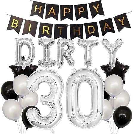 Dirty 30 globos de látex plateados y negros para 30 ...
