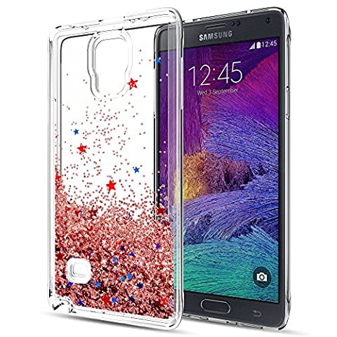 Galaxy Note 4 Liquid Case with HD Screen Protector for Girls Women,LeYi Cute Design Shiny Glitter Moving Quicksand Clear TPU Protective Phone Case Cover for Samsung Galaxy Note 4 ZX TS Rose (Cell Phone Covers For Samsung 4)