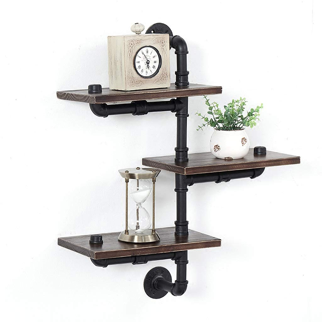 Industrial Pipe Shelving Wall Mounted, Vintage Wall Shelf, Black Iron Pipe Bracket with Water Meter and Wooden Plank, Rustic Home Decor, 3 Tier ZHEN GUO