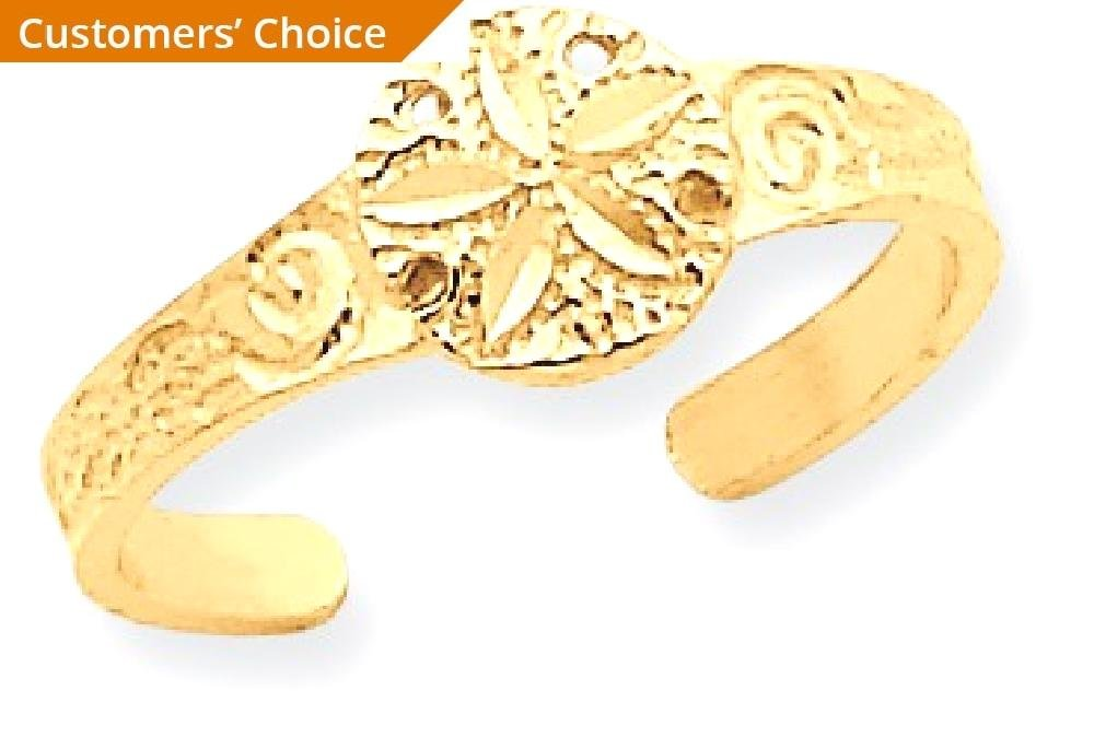 ICE CARATS 14k Yellow Gold Sand Dollar Sea Star Starfish Adjustable Cute Toe Ring Set Fine Jewelry Gift Set For Women Heart by ICE CARATS (Image #2)