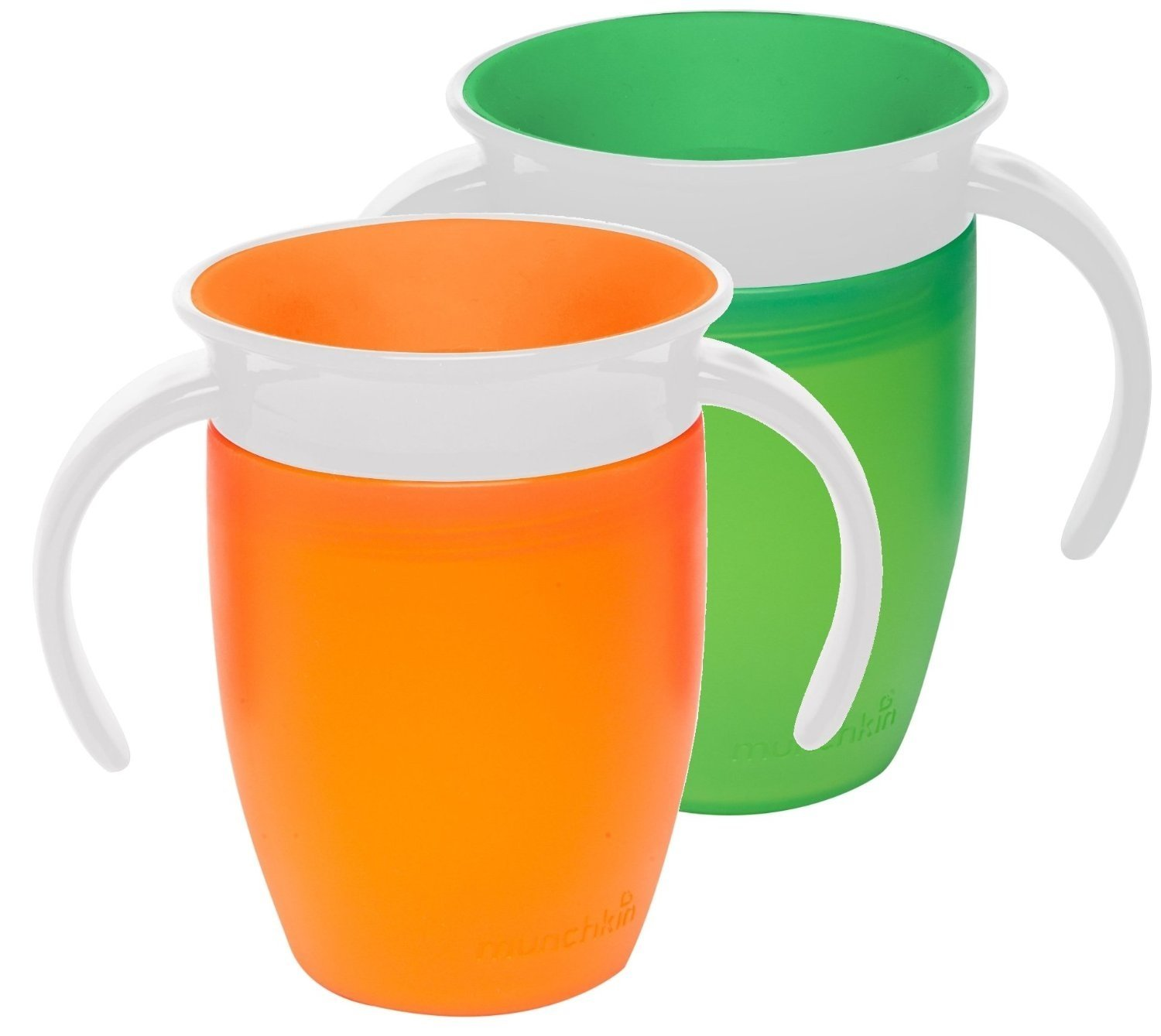 Munchkin Miracle 360 Trainer Cup, Green/Orange, 7 Ounce, 2 Count