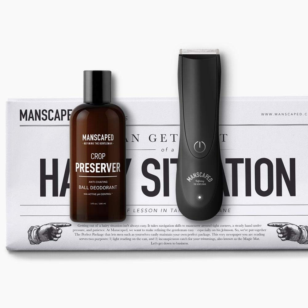 Men's Grooming Kit, Includes Ergonomically Designed Powerful Waterproof Manscaping Trimmer, Nuts and Bolts 2.0 by Manscaped, and Crop Preserver Ball Deodorant plus FREE Disposable shaving mats by Manscaped